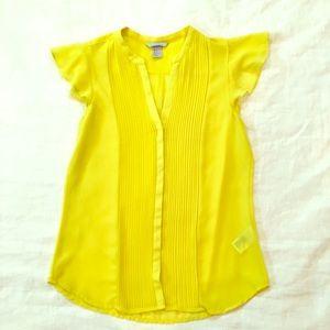H & M sheer yellow shirt